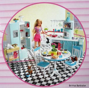 Deluxe Möbel - Barbie Esszimmer (türkis) Mattel 2006 Bild #14