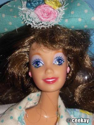 """1992 Teen Talk Barbie, brunette - turquoise hat """"Ich spreche mir dir """""""