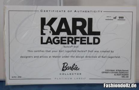 Karl Lagerfeld Barbie - Zertifikat